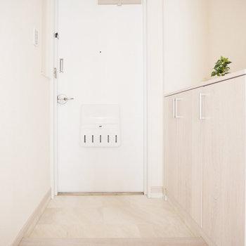玄関もさわやか。扉の裏側は?