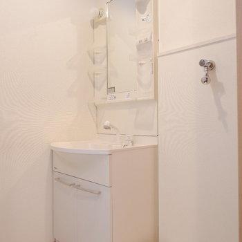 洗面台と横に洗濯機置場が。洗濯物は同階のバルコニーへ。