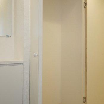 ここにも大きな収納。。※写真は603号室のもの