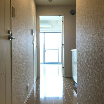 玄関からの眺め。右側がキッチン、左側がサニタリーです。