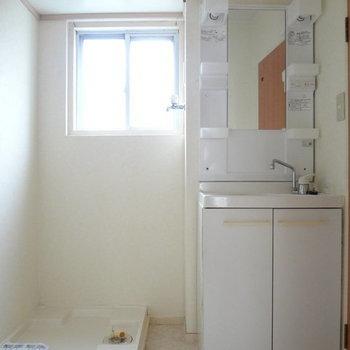洗面台はドレッサータイプで使いやすそう。※写真は別室反転です。