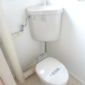 トイレの設備はレトロだけど清潔感はありますよ。※写真は別室反転です。