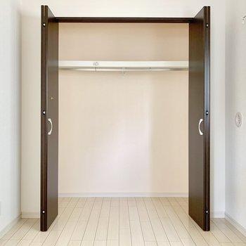 洋室に収納有り。幅があるのでハンガーを沢山掛けられますね。