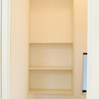 階段スペースにも収納棚あります。