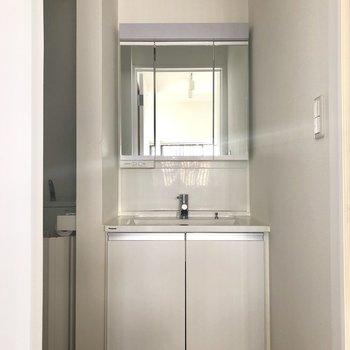 独立洗面台。使いやすそうですね!※電気が着く前、クリーニング前の写真です。