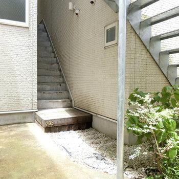 この階段を上がって2階へ