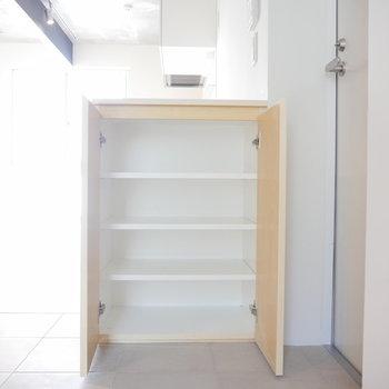靴箱は控えめに。 ※写真は2階の似た間取り別部屋です。