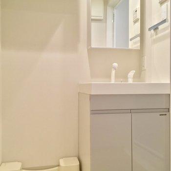洗濯機置場の上に収納ありまっす※写真は同階、反転間取りの別部屋です。