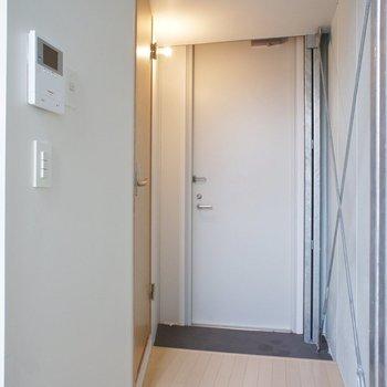 玄関側にサニタリーの扉。