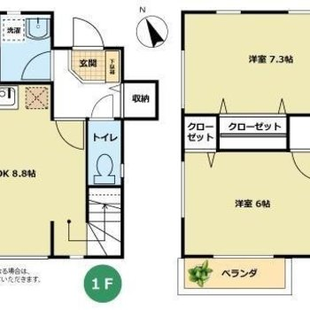 1階と2階で、2LDKの間取りですよ。