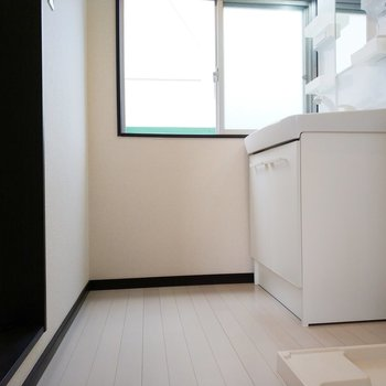 サニタリールームは独立洗面所と洗濯パンがお出迎え。