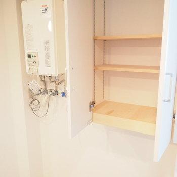 向かい側には洗濯機置き場と収納があります※写真は別部屋です