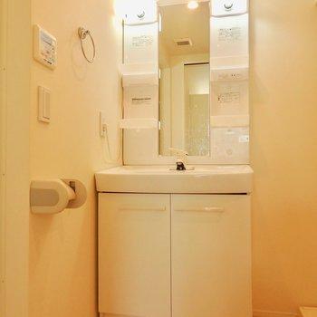 その隣に洗面台。※写真は前回募集時、クリーニング前のものです