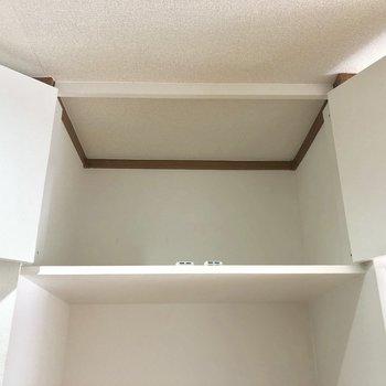 収納は冷蔵庫置場の上のここだけ。。