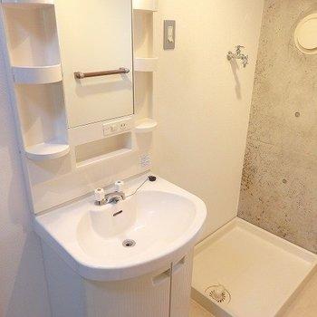 収納たっぷりの独立洗面台※1階別部屋同間取りのお部屋の写真です。