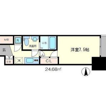 シンプルな1Kのお部屋。(※反転の間取り図です)