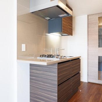 キッチンはちょっとカウンターのようになってました。※4階の同じ間取り別部屋の写真