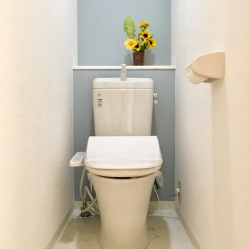 水色のクロスがとってもかわいいトイレ、こもって本を読みたい!