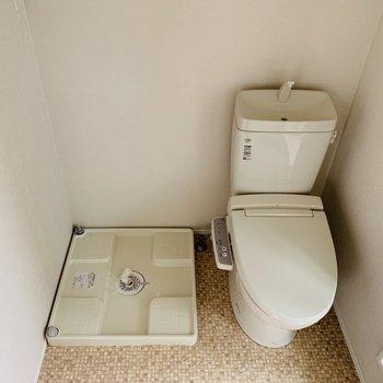 トイレと洗濯機置き場が一緒なんですね。※写真は前回募集時のものです