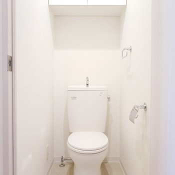 上に収納もついていてわかってるトイレですね。