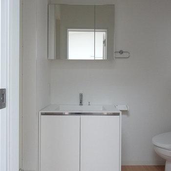 洗面台はコンパクト※写真は同階の反転間取りの別部屋