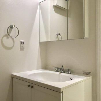 洗面台の蛇口も凝っていて、タオル掛けがあるのは嬉しい。※写真は1階の反転間取り別部屋のものです。