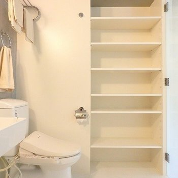 トイレの横には収納が。タオルとかはここに入れたら使うときに便利!※前回募集時の写真です