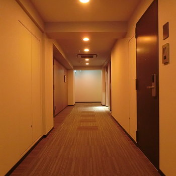 共用部。照明がホテルのような雰囲気を演出。