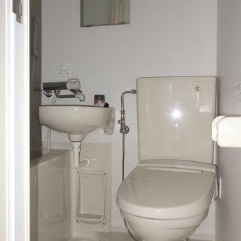 お掃除は楽ちんのトイレです。 ※フラッシュ撮影です