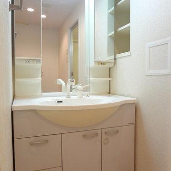 洗面台も大きくて使いやすそう。※写真は4階の反転間取り別部屋のものです