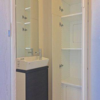 専用の手洗い場に収納まで◎