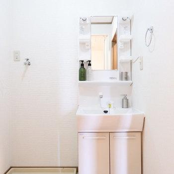 サニタリールームは開けると独立洗面台と洗濯パンがお出迎え!