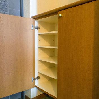 シューズボックスの下のスペースも便利です。※写真は同間取り別部屋のものです。