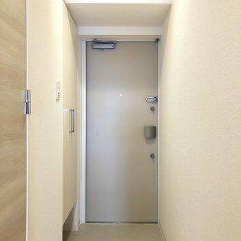 玄関。靴を脱ぐスペースは充分にあります。