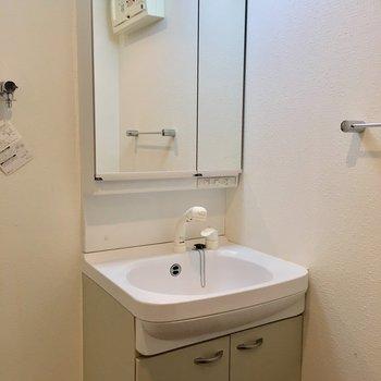 洗面台は薄いクリームグリーン※写真は別部屋です