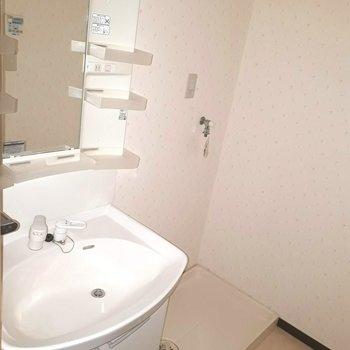 洗濯機はこちらに ※照明なしの時のお写真です※写真は2階の反転間取り別部屋のものです。