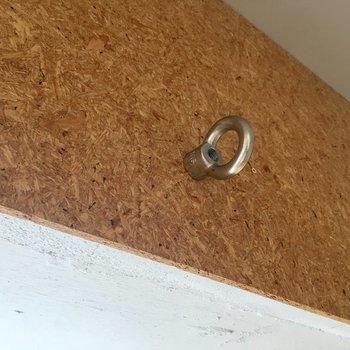 壁に大きなフックがたくさんついていました。服以外にもエアプランツを吊るしたり。