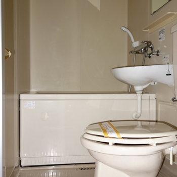 洗面台とトイレも一緒のお風呂。 ※フラッシュ撮影です