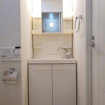 独立洗面台も毎日使いたい大きさ。※写真は2階、反転間取りの別部屋となります。