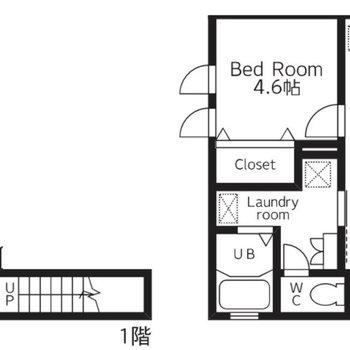 1階玄関の、2階に1LDKという間取り。