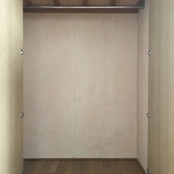クローゼットは大きめサイズです。上部にも棚があるけど高いので脚立必須です。