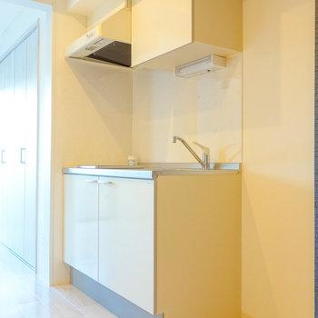 一般的な左開きの冷蔵庫がちゃんと置けますね。