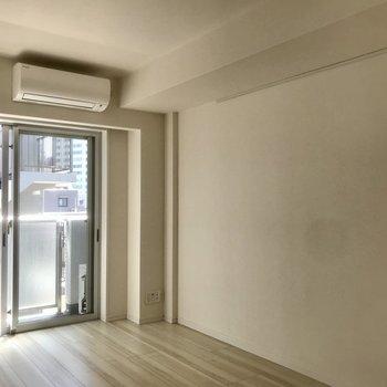 壁にフック付きのレールが付いてます。※写真は5階の反転間取り別部屋です。