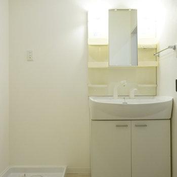 脱衣所はこんな感じ※写真は反転間取り別部屋のものです。