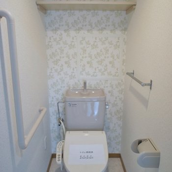 トイレもアクセントクロスで清潔感アップ