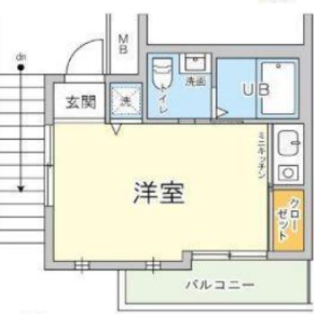 コンパクトな洋室と広々バルコニー