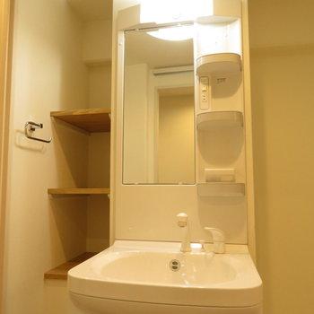 洗面台だけの収納でなく左の棚もいい感じ