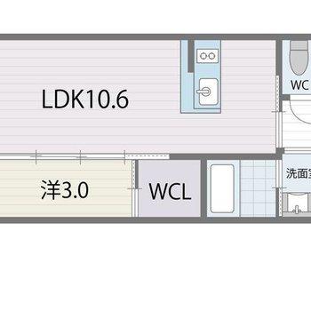 寝室もコンパクトにし切れる1LDKタイプです。