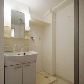 洗面はしっかり大きめ。洗濯機スペースもゆったり。(※写真は5階の反転間取りのお部屋です)