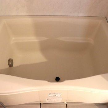 ちょっと変わった形の浴槽。深いので温まれそう